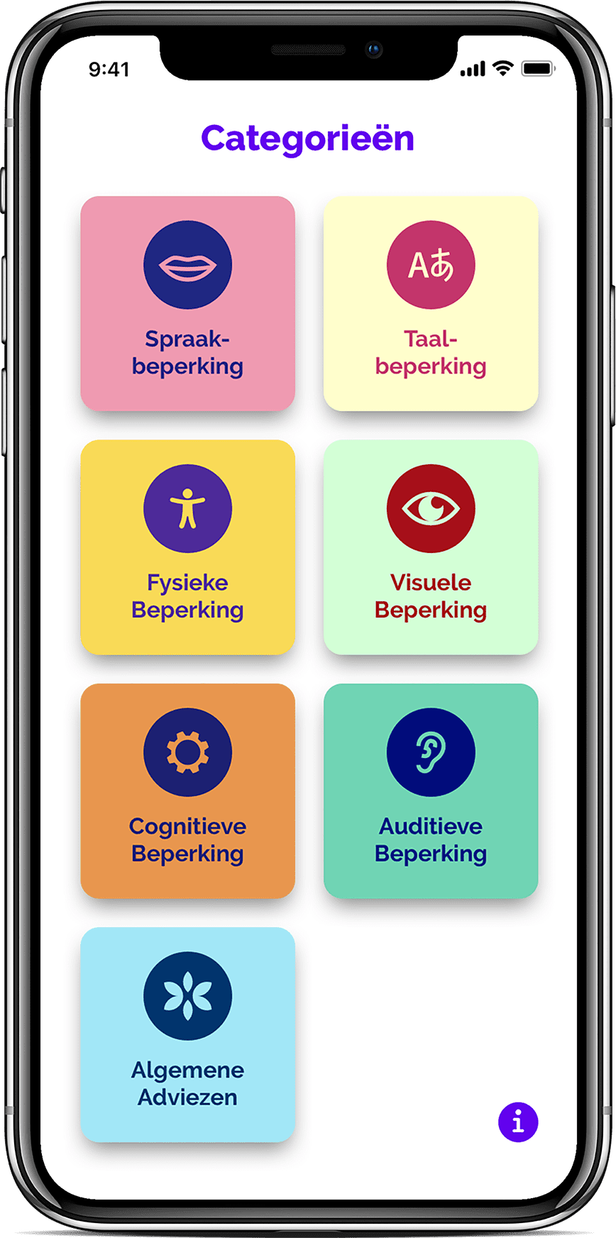 iphone met daarin een scherm van de app 'Denken in beperkingen'