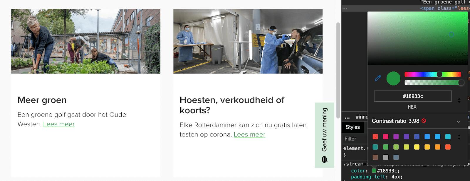De contrast ratio van de tekst 'Lees meer' op Rotterdam.nl is niet voldoende.