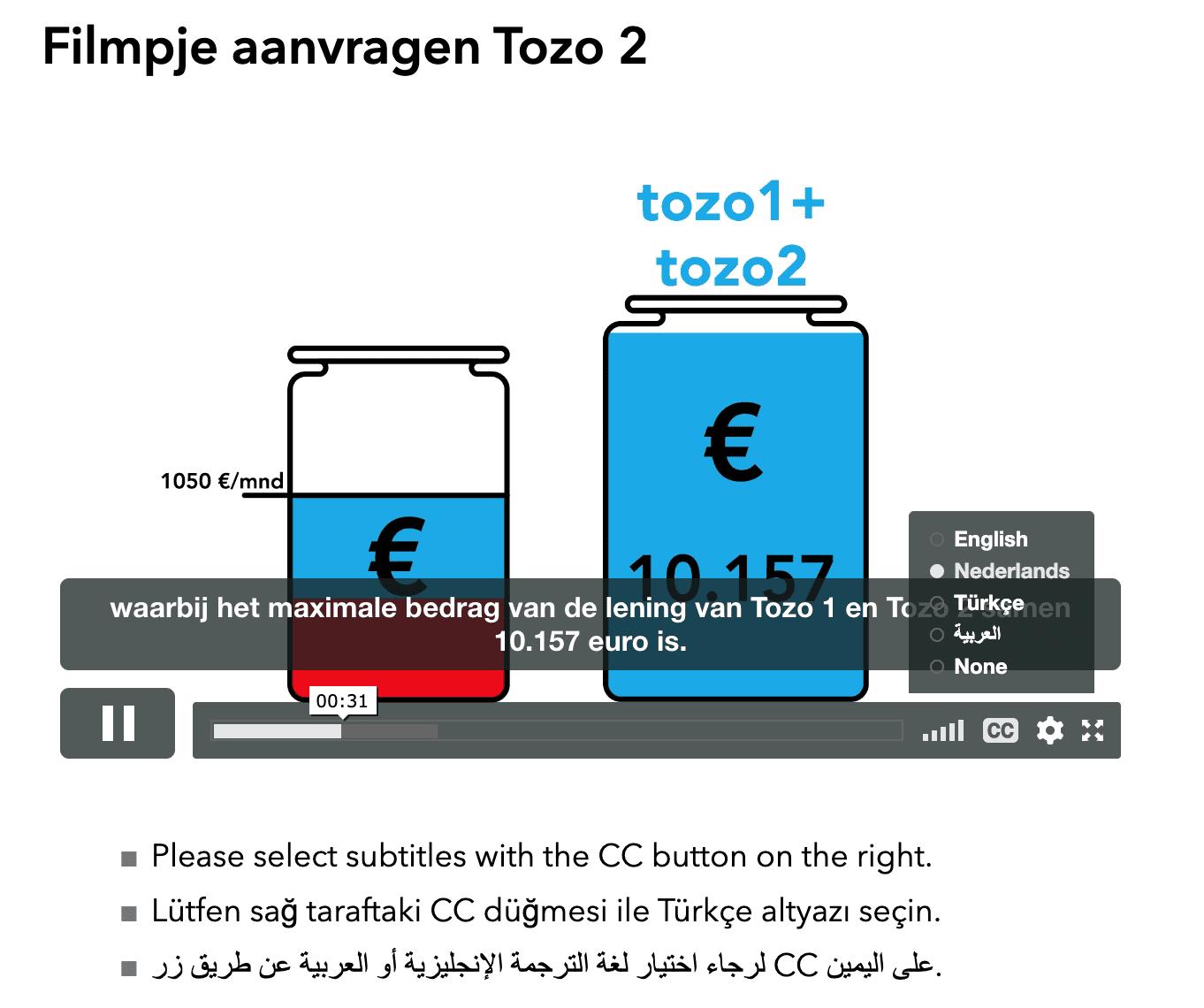Een screenshot van de video op Amsterdam.nl. Rechts kunnen gebruikers kiezen tussen de verschillende talen.